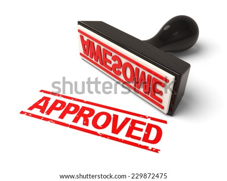 A rubber stamp with APPROVED in blue ink. 3d image. Isolated white background.