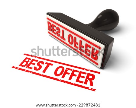A rubber stamp with best offer in red ink.3d image. Isolated white background.