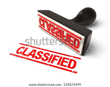 A rubber stamp with classified in red ink.3d image. Isolated white background.