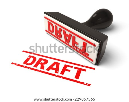 A rubber stamp with draft in red ink.3d image. Isolated white background.