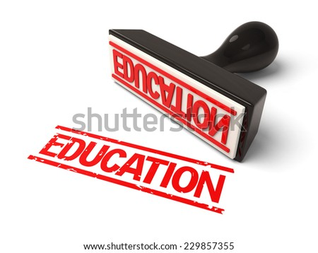 A rubber stamp with  education in red ink.3d image. Isolated white background.