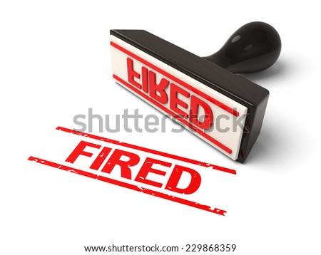 A rubber stamp with fired in red ink.3d image. Isolated white background.