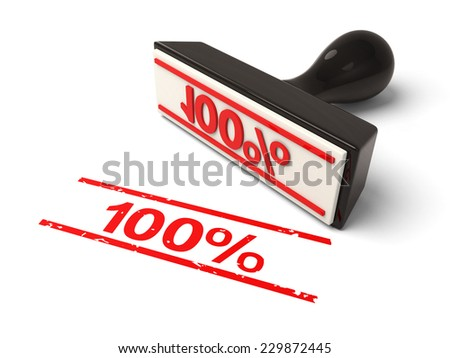 A rubber stamp with 100% in red ink.3d image. Isolated white background.