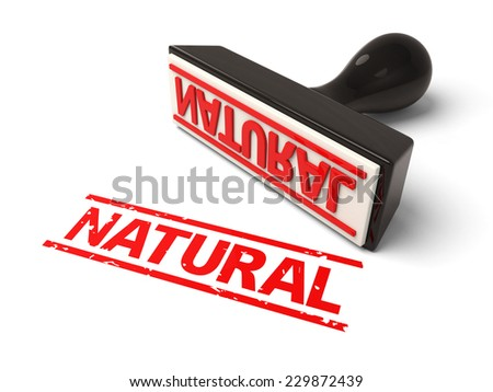 A rubber stamp with natural in red ink.3d image. Isolated white background.