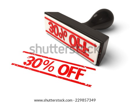 A rubber stamp with  30% off in red ink.3d image. Isolated white background.