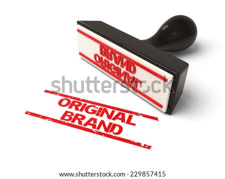 A rubber stamp with  original brand in red ink.3d image. Isolated white background.