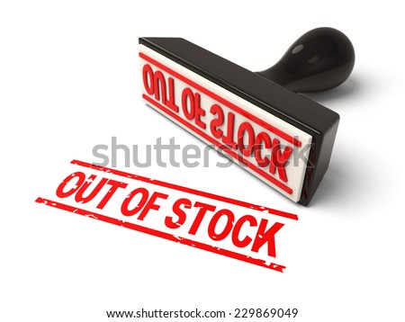 A rubber stamp with out of stock in red ink.3d image. Isolated white background.