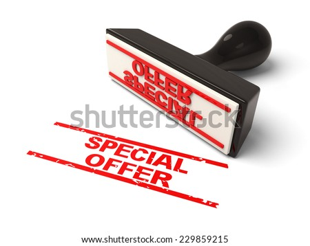 A rubber stamp with special offer in red ink.3d image. Isolated white background. - stock photo