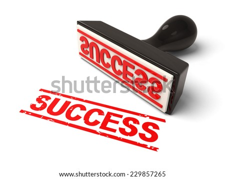 A rubber stamp with success in red ink.3d image. Isolated white background.