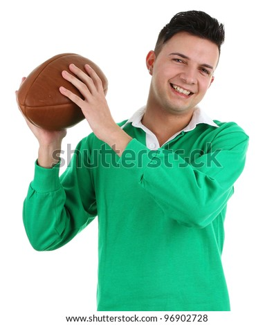A rugby player smiling, isolated on white - stock photo
