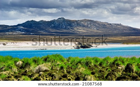 A rugged mountain range in the Falkland Islands - stock photo