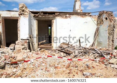 A Ruin of a demolished house. - stock photo