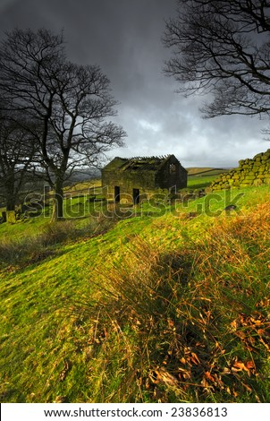 A ruined barn on a stormy day near the Roaches in the Peak District, England - stock photo