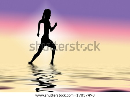 a rummer running along water