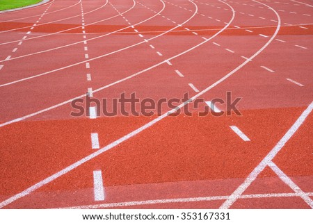 A run track in a sport center with line and position