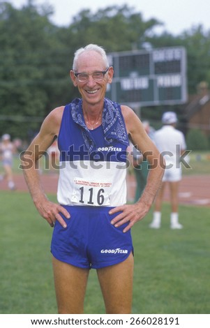 A runner at the Senior Olympics, St. Louis, MO