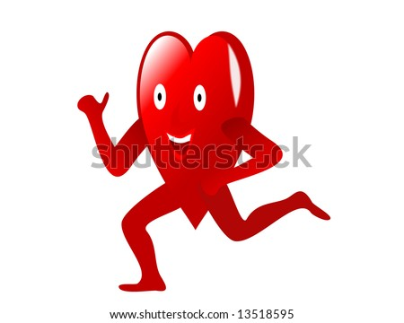A running cartoon heart depicting exercise for a healthy heart isolated on white