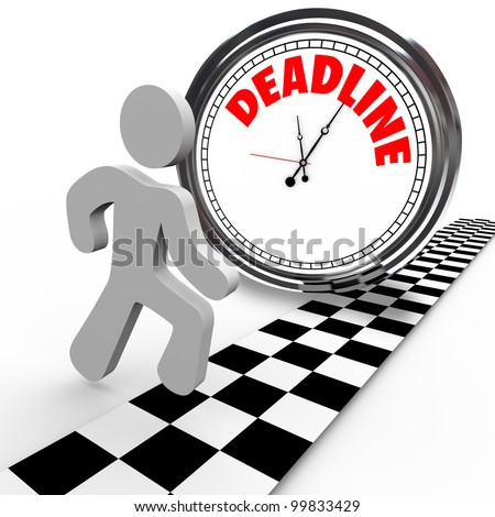 A running person reaches a finish line in a race against a clock with the word Deadline, representing a dash to quickly complete a job or task or other objective before time is up - stock photo
