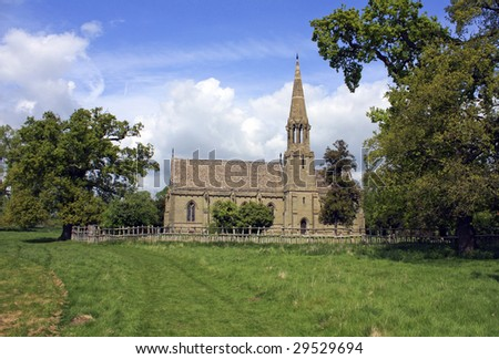 A rural country church landscape