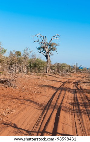 a Rural dirt road in africa - stock photo