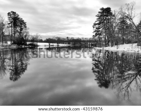 A rural lake in the winter time