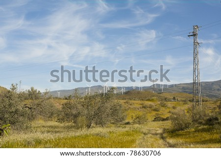 A rural landscape showing wind turbines on the background and an electric pole on the foreground. - stock photo