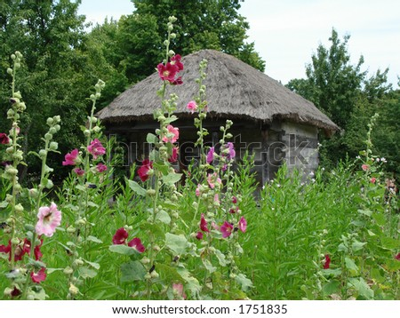 a rural log-house with beautiful flowers - stock photo