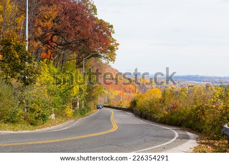 A rural road outside in the fall