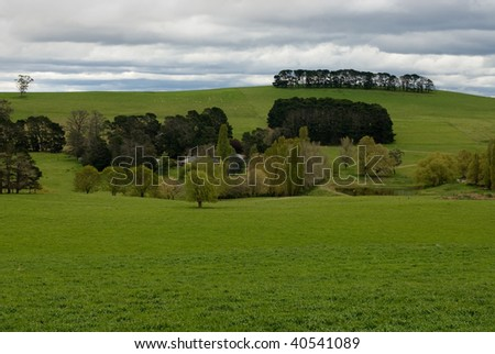 A rural scene captured in Spring, after a good fall of rain. - stock photo