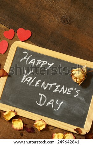 A rustic Valentines message for that special day. - stock photo