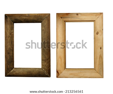 A rustic wood picture frame with curved surfaces, made of aged and weathered wood, actual dimensions 8.5 by 14 inches.  Showing the front and back.  Isolated on a white background. - stock photo