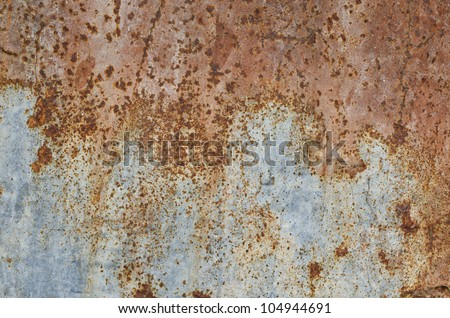 A rusty corrugated iron metal texture,Zinc wall - stock photo