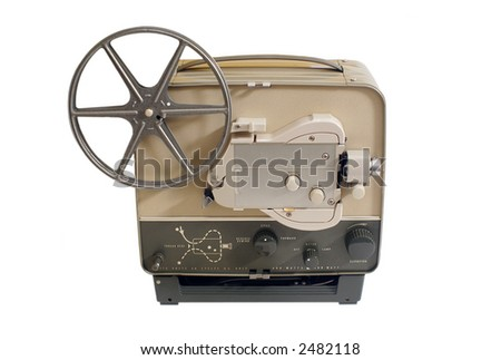 A 1950s or 1960s home cine projector isolated on white - stock photo