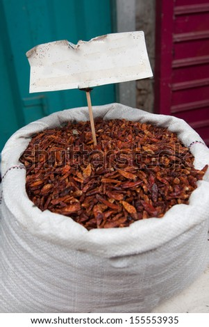 A sack of dried red hot chili pepper - stock photo