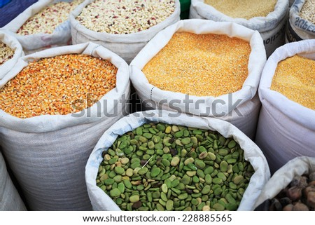 A sack of dry corn at a farmers market in Peru - stock photo