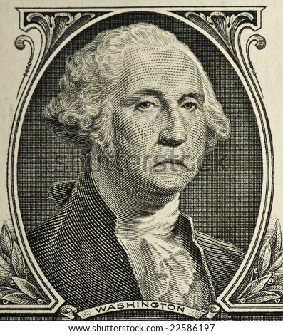A sad George from a $1 bill - stock photo