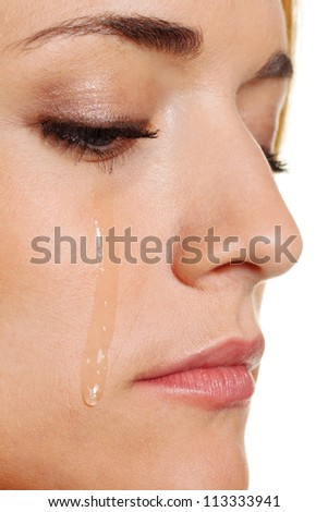 a sad woman weeps tears. photo icon fear, violence, depression - stock photo