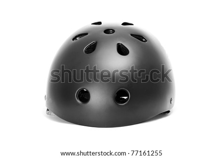 a safety helmet on a white background - stock photo