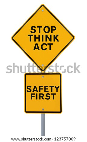 A safety road sign isolated on white