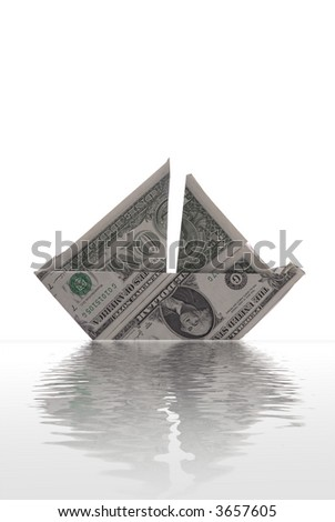A sailboat made of dollar bills appears to float on rendered water. White background. - stock photo