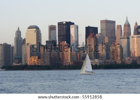 A sailboat on the Hudson river