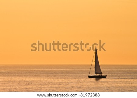 A sailing boat in the evening light.