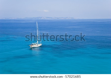 A sailing boat in the ionian sea greece - stock photo