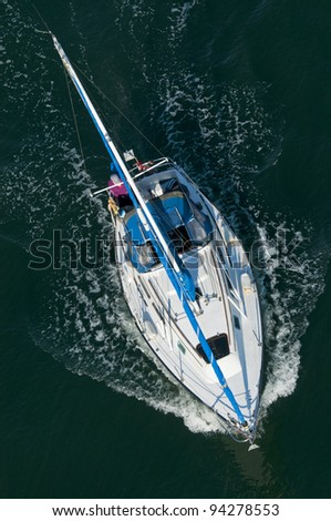 A sailing boat shot from above.