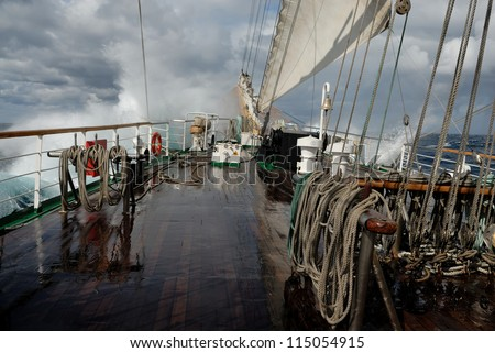A sailing ship in a storm - stock photo