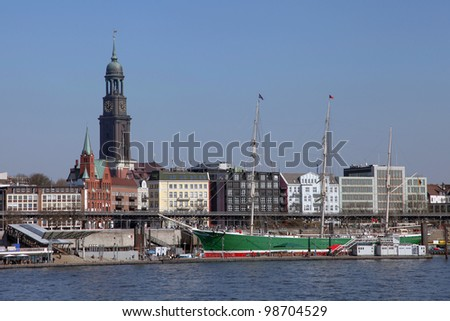 a sailing ship in the port of Hamburg, Germany - stock photo