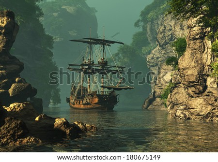 a sailing ship of the 16th Century anchored between high rocks in shallow waters, 3d computer graphics - stock photo
