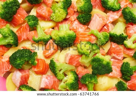 a salmon with broccoli and potato