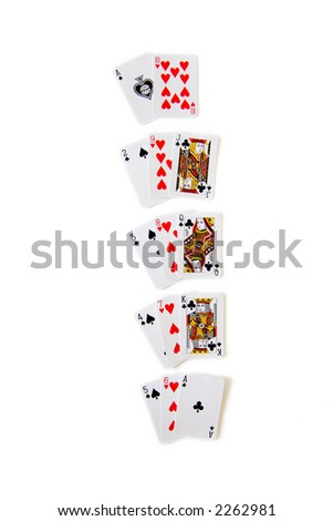 A sample of winning hands in Blackjack (21), isolated on white - stock photo