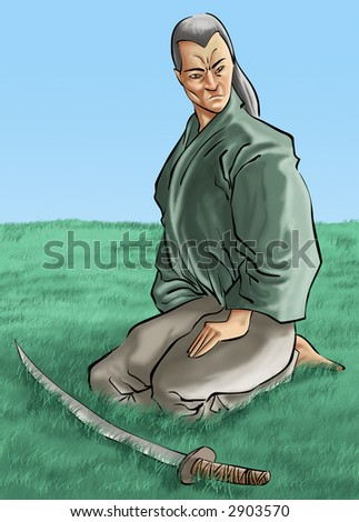 a samurai in a big grass field with his sword - stock photo